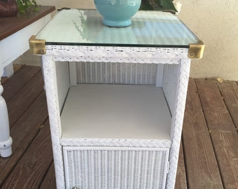 Vintage Wicker Cabinet With Original Tempered Glass And Brass Shabby Chic