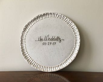 Wedding + Anniversary Platter  ||  MADE-TO-ORDER  ||  Dot & Line Pattern  |  gift - personalized - handmade - tray - hand-lettered