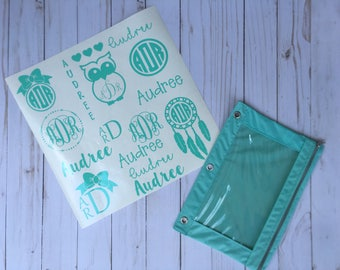 15 Monogram Decal Sheet, Personalized Pencil Pouch, 3 Ring Pencil Case, School Supplies