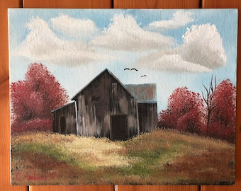 Autumn barn oil painting signed
