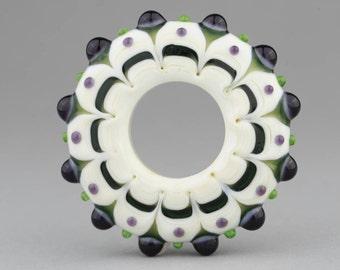 "Handmade Lampwork Glass Bead ""Mardi Gras"" Disk Focal Bead ~ Big Hole Bead"