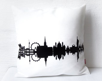 VIENNA hand Screen Printed Pillowcase- 100% Cotton Twill- City Skyline- pillowcases- pillow cover- bedding- handmade by 44spaces