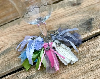Wine Tags- Wine Charm Tags- Wine Glass Charms- Wine Glass Tags- Rainbow Wine Glass Charms- Bar Accessories- Fabric Wine Tags- Wine Glasses
