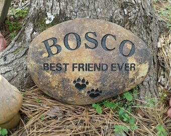 Pet memorial personalized 7 to 9 inches dog or cat sandcarved  river stone
