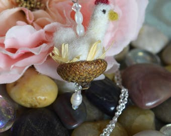 Miniature Felted Chicken Necklace