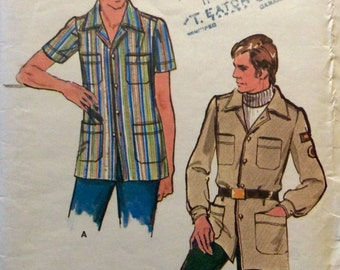Vintage Sewing Pattern 1970s Mens Topstitched Leisure Shirt Size 44 Convertible Collar Patch Pockets