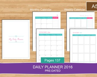 A5 Daily Planner 2016 PDF, Everyday Planner Calendar 2016, prefilled for 2016,A5 size daily planner PDF, A5 planner pages, Instant Download