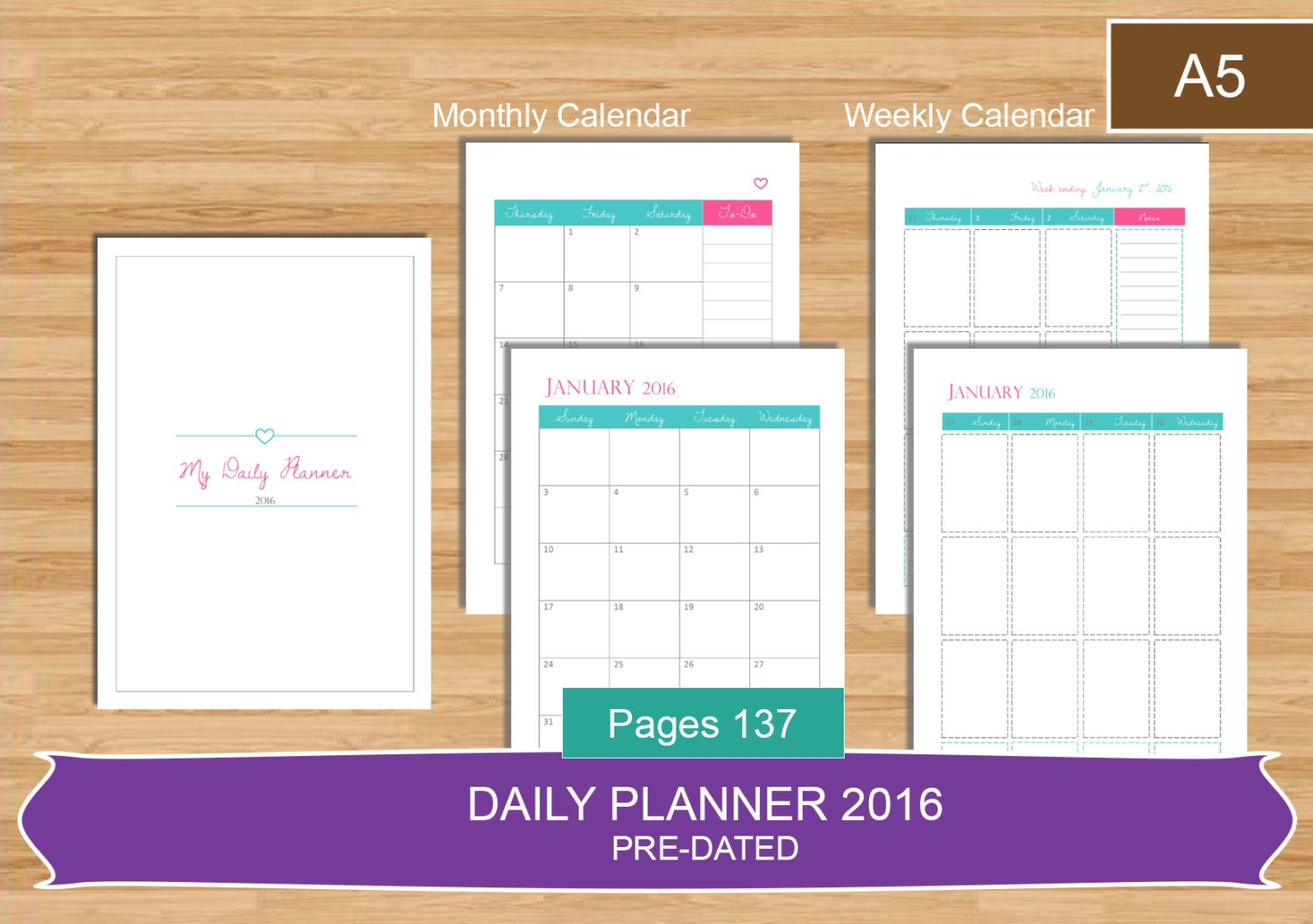 A5 daily planner 2016 pdf everyday planner calendar 2016 for Daily planner maker