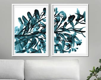 Set of 2 Prints, Abstract Print Set, digital downloads, Botanical Prints, Printable Abstract, instant download, Living Room Art, Dan Hobday