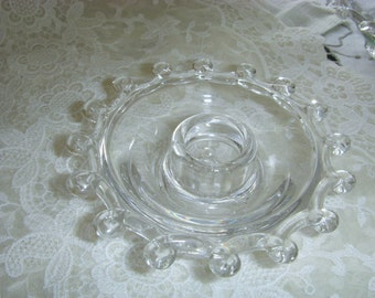 Vintage Pair  Glass Candle Holders Heisey Crystal Lariat Pattern