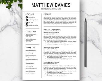 Professional Resume Template, Cover Letter, CV Resume Template, MS Word, Creative Resume Design, Modern Resume, Instant Download, MATTHEW