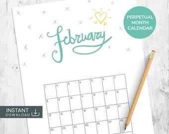 February Printable Calendar, Single Month Calendar, Perpetual Calendar, Hand Lettered Calendar, Month Wall Calendar, Hand Drawn Calendar