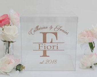 Personalized Wedding Card Box Clear Acrylic Modern Bridal Shower Engagement Party QUICK shipping  (Item EEBB200)