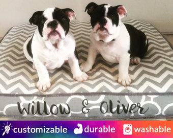 Dog Bed with Name Embroidery | Grey, White, Chevron | Customize to your style | Design Your Own
