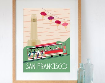 San Francisco Retro Travel Poster Style Art Print