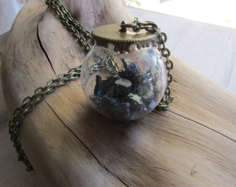 Ball pyrite pendant necklace