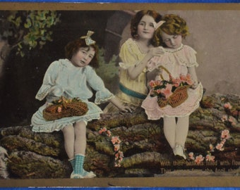 3 Little Girls Baskets Filled With Flowers From April Showers Antique Postcard