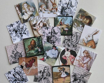 Alice in Wonderland Printed SQUARES with Adhesive backing- 20 Wonderland images- Alice jewelry decorations scrapbooking Alice greeting cards