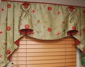 """Custom Valance Hidden Rod Pocket® with jabots BUNNY NO EARS fits 65""""- 86"""" window, Made to order using your fabrics, my labor and lining"""