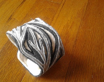 Grey leafy vine fabric cuff bracelet