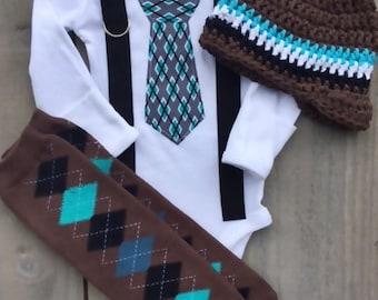 Newborn Homecoming/Photo Shoot/1st Birthday/Wedding-Bodysuit with Argyle Tie,Suspenders, Leg Warmers, Hat