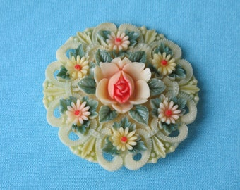 Brooch Pin Molded Cream Celluloid Intricate Lacy Detail Pink Rose Daisies Green Leaves Pastel Tinted Signed Japan Vintage 1930's