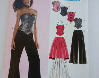 Corset Top/ pleated skirt/teen /wide leg pants 2005 Sewing Pattern, Bust 28 29 30 32 33 35, Size 3/4 5/6 7/8 9/10 11/12 13/14, New Look 6480