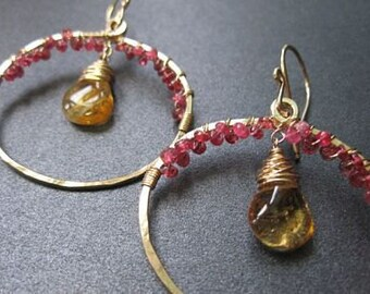 Hammered hoops with pink spinel and mandarin garnet Siren 174