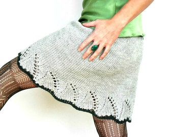 Elle Lace Skirt Hand Knit Pale Dove Grey Dark Green Merino Wool Short A Line Stretchy Unlined Size XS/S