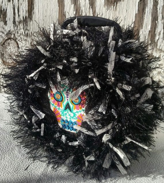 Colorful Sugar Skull Lunchbox with Furry Black and White Upholstery