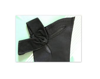 Vintage 60s Black Leather Gloves 6.5 with Bow and Cutouts