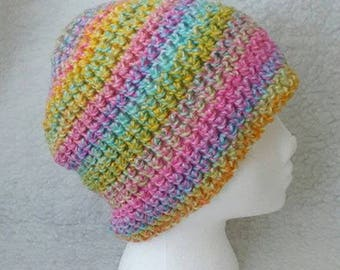 Pretty Pastels crochet beanie
