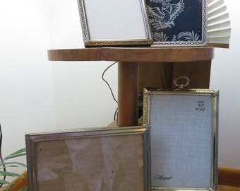 Collection of Four 7x5 Metal Picture Frames- Art Deco/Hollywood Regency Style- Gold and Silver Tinted Frames, Original Glass