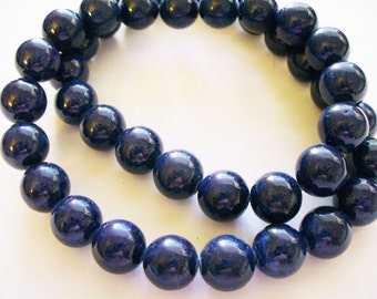 Fossil Beads Blue Round 10mm