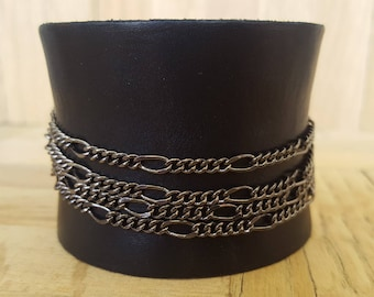 Black leather and chains cuff