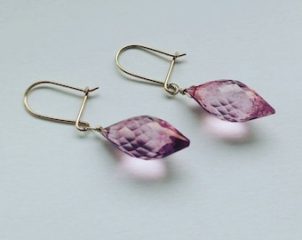 Solid 9ct Gold Rose Pink Tourmaline Briolette Drop Earrings - Simple, Classic, Elegant