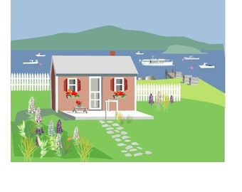 Cottage by the Sea-Set of 8 Note cards