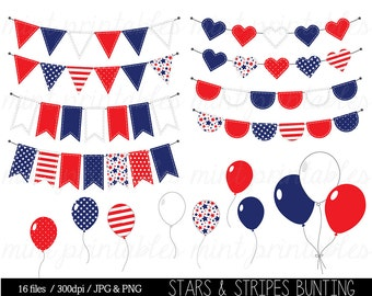 Bunting Clipart, Stars and Stripes Clip Art, Red White Blue, Fourth of July, Balloon, Patriotic - Commercial & Personal - BUY 2 GET 1 FREE!