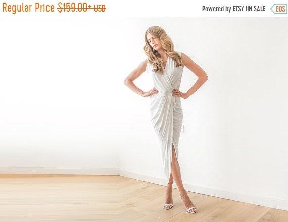 Ivory V Neck Maxi Dress Minimalist Wedding Gown: Ivory Wrap Dress Bridal Tulip Gown Sleeveless Wedding Maxi