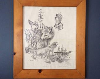 Desert Scene, Artist Signed Print, Framed Art Print, Vintage Nature Art