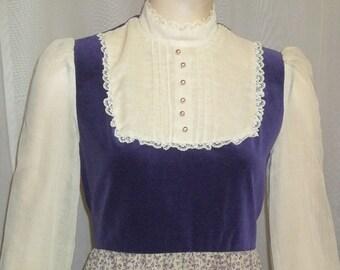 Vintage 1970's Vicky Vaughn Victorian Prairie Long Maxi Dress Size 9