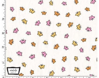Let's Play - White Fly Fly Butterfly Cotton Fabric by Michael Miller for Sewing, Dressmaking & Quilting