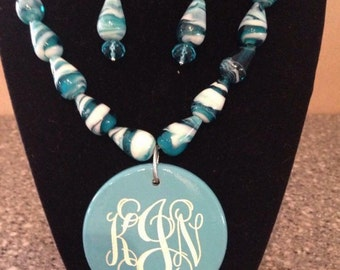 Engraved Beaded Monogrammed Necklace