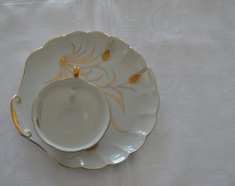 Lefton China Hand Painted Golden Wheat Snack Plate and Tea Cup (1940)