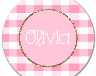 Gingham Glitter Melamine Plate, Personalized Plate, Gingham Plate, Personalized Baby Plate, Personalized Child's Plate