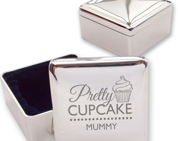 Engraved MUMMY MUM square shaped trinket box gift, silver plated - Pretty as a cupcake  - PRE1