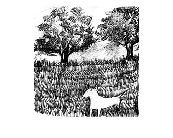 """Bull Terrier """"In the Field or the Lost Ball"""" Print Black and White Illustration Matted options"""
