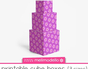 "Small printable cube shape boxes ""Julietta"", 3 sizes, download"