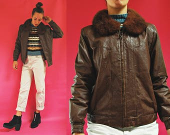 1970s Brown Leather Aviator Jacket with Fur Collar  - Mens XS / Womens M