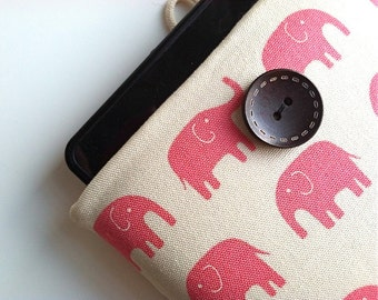 Pink Elephants Kindle Case, Padded Kindle Sleeve, Amazon Fire HD Case, Paperwhite Cover, Voyage Cover, iPad Mini other eReader